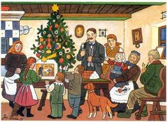 Looking back at Christmas - Josef Lada Christmas Village Exhibition in Prague Christmas Cave, Christmas Illustration, Illustration Art, Naive Art, Vintage Christmas Cards, Christmas Greetings, Winter Theme, Prague, Christmas Traditions