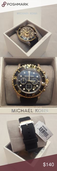 Michael Kors Black and Gold w/Gel band Watch Michael Kors  Black and Gold Gel band New with Tags Michael Kors Accessories Watches