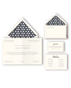 Dots invitation suite. This wedding stationery includes invitations, lined envelopes, thank you notes, menus and maps.