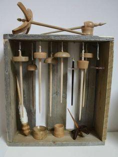 DIY storage for drop spindles, turkish spindles, fiber artist tools