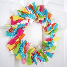 Rainbow Ribbon Wreath Bright Yellow Green Blue by PolkaDotSkies, $26.00