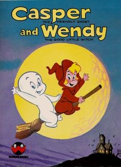 Casper the Friendly Ghost and Wendy the Good Little Witch, vintage children's book Classic Cartoon Characters, Cartoon Tv Shows, Classic Cartoons, Vintage Cartoon, Vintage Comics, Witch Coloring Pages, Coloring Books, Casper The Friendly Ghost, Halloween Books