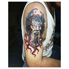 "Joel Morera on Instagram: ""Poseidon BnG con detalle de color 🔱🌊 . . . Buena nota a mi compa @danielmurillosanchez #bngtattoo #poseidontattoo #alajuelatattoos…"" Poseidon Tattoo, Sleeve Tattoos, Color, Instagram, Ideas, Mulberry Tree, Note, Tattoo Sleeves, Colour"