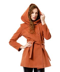 Look at this Cinnamon Hooded Sash Coat on #zulily today!