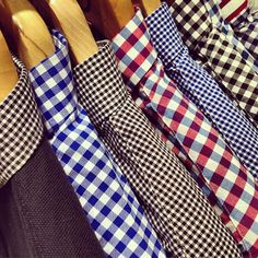 Classic gingham shirts, photographed at Fred Perry's Authentic shop at Westfield White City.