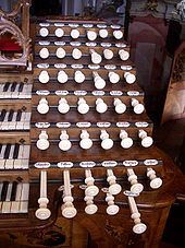 Stop knobs of the Baroque organ in Weingarten, Germany