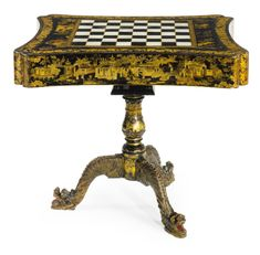 c1830 A Chinese Export mother-of-pearl inlaid parcel-gilt black lacquer games table circa 1830 8,000 — 12,000 USD  LOT SOLD. 18,750 USD (Hammer Price with Buyer's Premium)