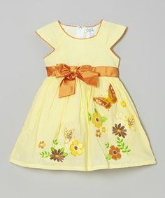 Love this Yellow Bow Floral Cap-Sleeve Dress - Toddler & Girls by Littoe Potatoes on #zulily! #zulilyfinds