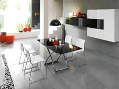Dining room with Calligaris Magic-J Glass Folding Coffee Table - modern - Dining Room - Other Metro - UPinteriors