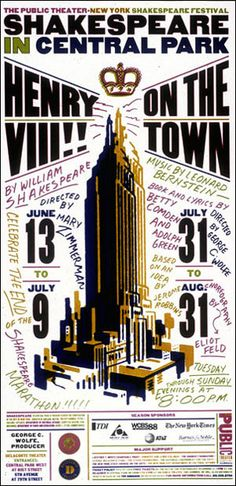 Shakespeare in the Park poster 1997 by Paula Scher, (handwritten, woodcut)