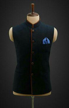navy blue waistcoat with brown stripes Nehru Jacket For Men, Nehru Jackets, Kurta Pajama Men, Kurta Men, Waistcoat Men Wedding, Engagement Dress For Men, Blazers For Men Casual, Boys Kurta Design, Men Dress Up