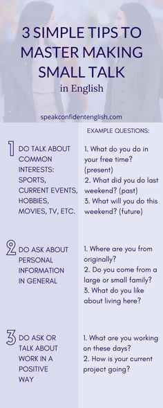 Small talk in English might seem unnecessary but the truth is we use it for a reason. Get my favorite questions & tips for successful small talk in English. English Tips, English Idioms, English Vocabulary Words, English Phrases, English Study, English Lessons, English Grammar, Learn English Speaking, English Language Learning