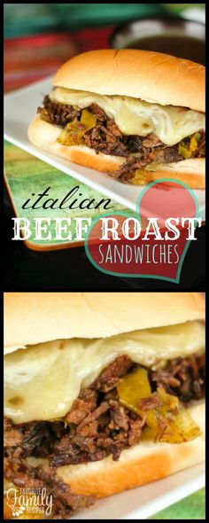 Italian Beef Roast Sandwiches are my new favorite way to do an Italian roast beef. The beef is slow cooked in savory juices with a little kick of spice. via (Roast Beef Sandwich Recipes) Italian Roast Beef, Italian Beef Sandwiches, Roast Beef Sandwiches, Wrap Sandwiches, Roast Beef Hoagie, Hoagie Sandwiches, Cooking Roast Beef, Roast Beef Recipes, Crockpot Recipes
