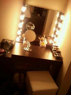 """Makeup vanity with Hollywood lights...Beauty, that's my passion. """"Kathy's Day Spa Party""""! Skincare, facials masks and make-up techniques!! Start your own Spa Party business, ask me how? aprioribeauty.com... www.facebook.com/..."""