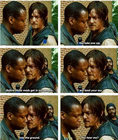 "My thoughts during the scene: (Guy): *puts hand on gun"" Daryl: *walks up to him* You ain't gonna do it. I run this show! Lol but seriously, if Daryl or Glenn ever died I would be so sad T^T"