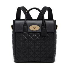 Mulberry - Large Cara Delevingne Bag in Black Quilted Lamb Nappa Sac  Mulberry c4c03098641bd