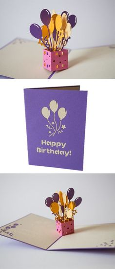 Surprise someone with this unique paper art pop up Birthday card. Say Happy Birthday with a pop! #Balloons