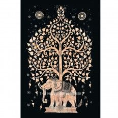 Small Black Elephant Tree Tapestry, Wall Hanging Tie Dye Bedspread Bedding