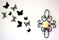 3D Butterfly Wall Art - Black wall decor - baby shower decorations - Nursery Wall art - 3d wall decor - Black wall art