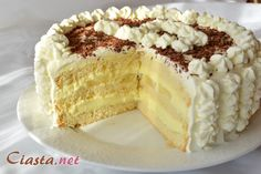Pastry Cream filled Pudding cake with pineapple and covered with whipped cream