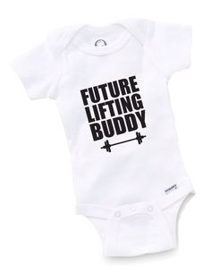 Future Lifting Buddy Onesie Bodysuit Baby Shower Gift Funny Boy Girl Family Weight Training Trainer Lifter by GopherKidz on Etsy https://www.etsy.com/listing/158120381/future-lifting-buddy-onesie-bodysuit