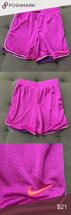 NEW Nike Purple Basketball Shorts Women's Small NEW Nike Purple Basketball shorts. Hot pink & plus towards bottom. New without tags. Has plastic tag still attached. Purple is a bit darker than in picture.   Size: Small  Bundle fav items for a personal discount. Offers are always welcome, too! No trades. Thank you! (17)  Tags: running, fitness, athlete, workout, gym, Nike Shorts