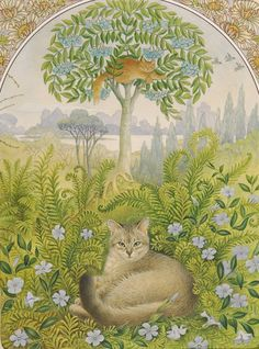 Lesley Anne Ivory   Afternoon Mu Mu and dandelion in ferns and periwinkles