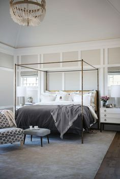 Superior Jaquard Bed in Gray - Lexington Company Grey And White Bedding, Grey Bedding, Luxury Bedding, Feminine Bedroom, Gray Bedroom, Master Bedroom, Interior Inspiration, Room Inspiration, Lexington Home