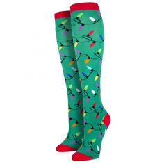 Purple Leopard Boutique - Women's Knee High Socks Holiday Christmas Lights Green, $13.50 (http://www.purpleleopardboutique.com/womens-knee-high-socks-holiday-christmas-lights-green/)