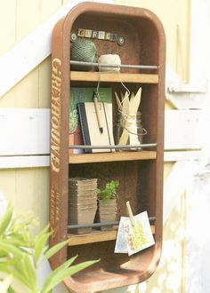 Shelving for Garden supplies, made from a recycled wagon. Excellent!