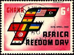 "Ghana.  AFRICA FREEDOM DAY, APR 15.  FLAGS FORMING ""F"" & MAP.  Scott  76 A22, Issued 1960 Apr 15,  Wmk325.,  6. /ldb."