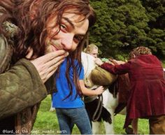 Kili/Aiden laughing at the fact bilbo/Martin has never been on a horse and did not like the fact he has 2 haha!!