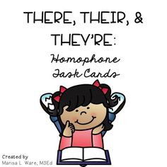 This set of homophone task cards focuses on the homophones there, their,