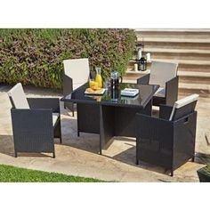 Buy Cube Rattan Effect 4 Seater Patio Set - Black at Argos.co.uk, visit Argos.co.uk to shop online for Garden table and chair sets