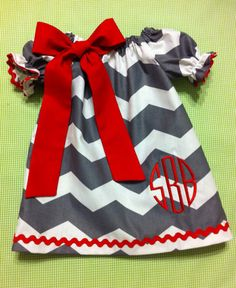 Babies/Toddlers/Girls Valentine's Day Chevron Peasant Dress with Sash