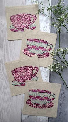 Set of 4 Beverage Coasters - Tea Cup Appliqué Coasters for Cups - Purple & Cream