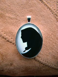 Pocahontas Silhouette Disney Cameo Pendant Necklace by inknpaint
