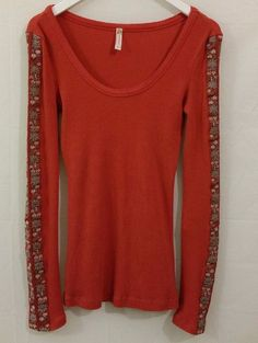 ~ FREE PEOPLE ~ M Floral Long Sleeve Thermal Shirt Orange Hippie Style Cotton  #FreePeople #Thermal