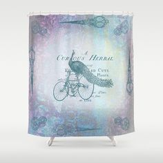 Artistic Shower Curtain  Vintage Peacock  by ArtfullyFeathered