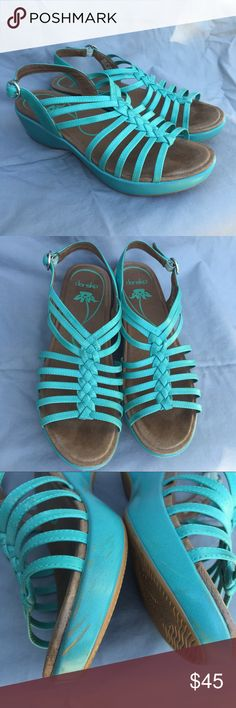 Dansko • Dana Dress Heel Sandal Size 41. This has a small wedge, very comfortable for all day wear. Color is teal. They have some scuff marks as shown in the pictures. Open to reasonable offers! Dansko Shoes Sandals