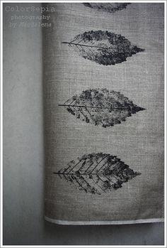 Leaves on linen