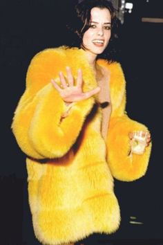 Gorgeous yellow-dyed fox fur jacket!!!