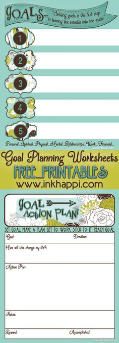 Goal Planning Worksheets free printables. Planning is a must to achieve success!