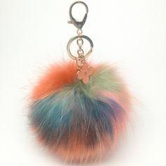 NEW Collection Dimensional Swirl™ Multi Color Raccoon Fur Pom Pom bag charm clover flower charm keychain piece no.281 by YogaStudio55 on Etsy