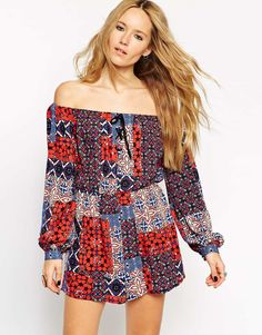 ASOS Off Shoulder Playsuit In Patchwork Vintage Print