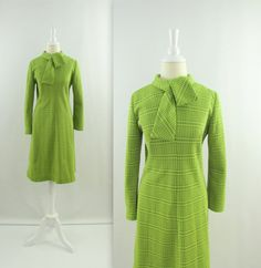 Vintage Mod Dress in Moss Green Plaid Mod Dress, Retro Dress, 1960s Fashion Women, Ascot Ties, Hair Reference, Day Dresses, Ready To Wear, High Neck Dress, Plaid