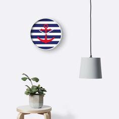 Illustration of a red ship anchor on a navy blue stripped background. © Amalia Ferreira-Espinoza www.afeimages.ca #nautical #wallclock #anchor #beachdecor
