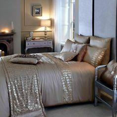 Find gold sequin bedding at ShopStyle. Shop the latest collection of gold sequin bedding from the most popular stores - all in one place. Blush And Gold Bedroom, Rose Gold Bed, Gold Bedroom Decor, Silver Bedroom, Pink And Gold Bedding, Kylie Minogue At Home, Interior Exterior, Interior Design, Red Duvet Cover