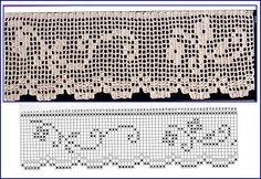 Risultati immagini per miria croches e pinturas Crochet Dollies, Crochet Lace Edging, Crochet Borders, Filet Crochet, Knit Crochet, Knitting Patterns, Crochet Patterns, Crochet Instructions, Lace Border