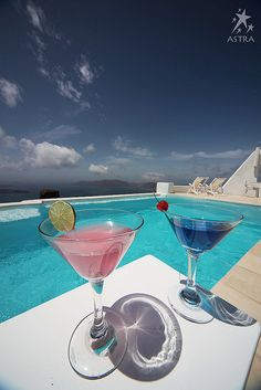Cosmo anyone? Pool Area-Astra Suites, Imerovigli, Santorini, Greece